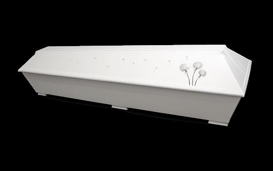 maalattu ruumisarkku pellavaverhoiltu arkku